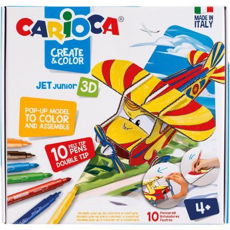 Набор фломастеров CARIOCA САМОЛЁТИК PLANNY от 4 лет carioca набор смываемых восковых карандашей baby 8 цветов