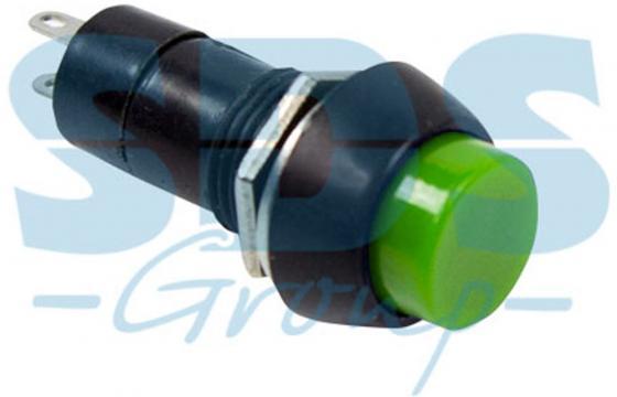 Выключатель-кнопка 250V 1А (2с) (ON)-OFF Б/Фикс зеленая REXANT