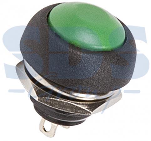 Выключатель-кнопка 250V 1А (2с) (ON)-OFF Б/Фикс зеленая Micro REXANT