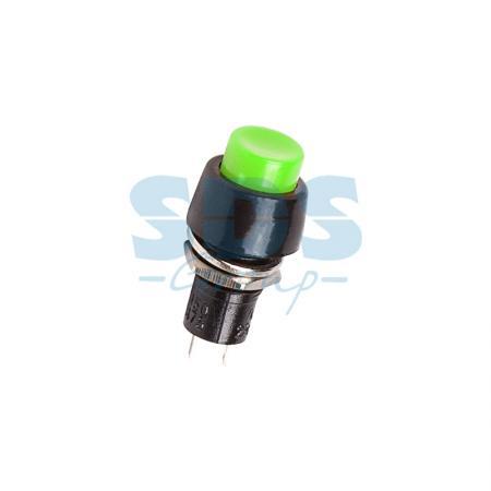 Выключатель-кнопка 250V 1А (2с) ON-OFF зеленая Micro REXANT