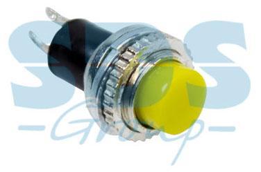 Выключатель-кнопка металл 220V 2А (2с) (ON)-OFF O10.2 желтая Mini REXANT