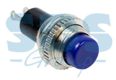 Выключатель-кнопка металл 220V 2А (2с) (ON)-OFF O10.2 синяя Mini REXANT