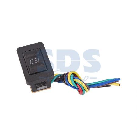 Выключатель (стеклоподъемника) клавишный 12V 20А (6с) (ON)-OFF-(ON) черный с подсветкой и проводом REXANT
