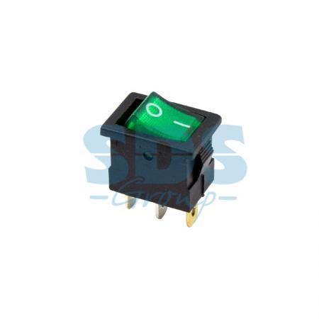 Выключатель клавишный 12V 15А (3с) ON-OFF зеленый с подсветкой Mini REXANT