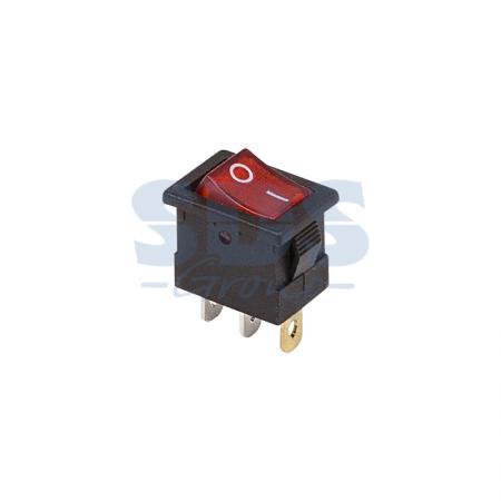 Выключатель клавишный 12V 15А (3с) ON-OFF красный с подсветкой Mini REXANT