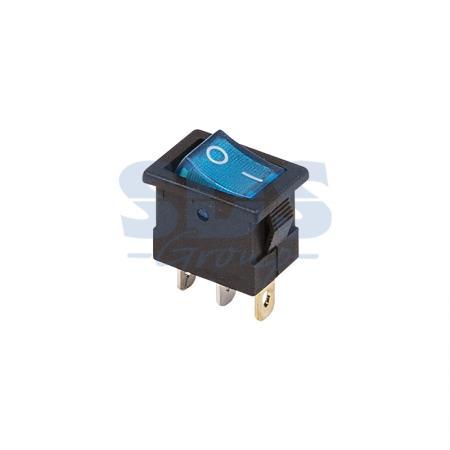 Выключатель клавишный 12V 15А (3с) ON-OFF синий с подсветкой Mini REXANT