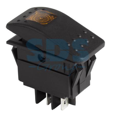 Выключатель клавишный 12V 35А (4с) ON-OFF желтый с подсветкой REXANT