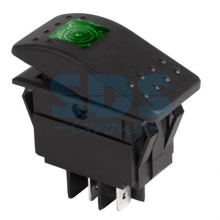 Выключатель клавишный 12V 35А (4с) ON-OFF зеленый с подсветкой REXANT