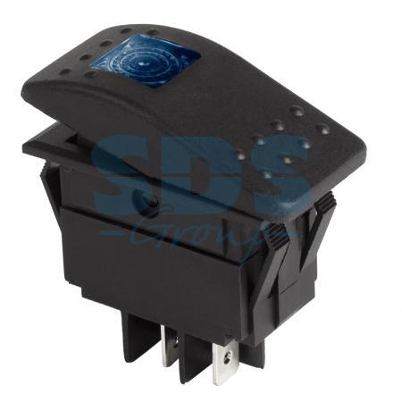 Выключатель клавишный 12V 35А (4с) ON-OFF синий с подсветкой REXANT carprie new replacement atx motherboard switch on off reset power cable for pc computer 17aug23 dropshipping