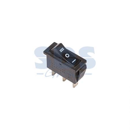 Выключатель клавишный 250V 10А (3с) ON-OFF-ON черный с нейтралью REXANT
