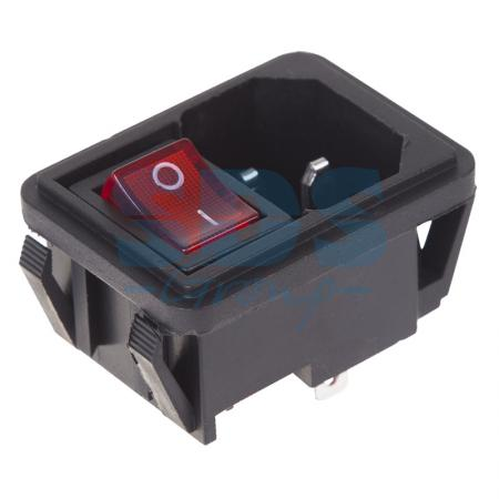 Выключатель клавишный 250V 10А (4с) ON-OFF красный с подсветкой и штекером C14 3PIN REXANT