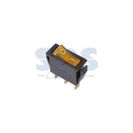 Выключатель клавишный 250V 15А (3с) ON-OFF желтый с подсветкой REXANT 10шт