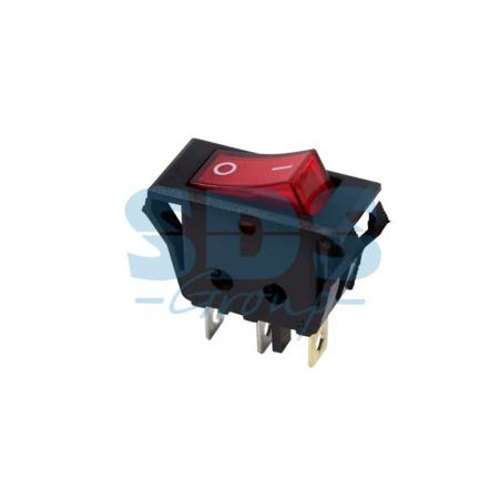 Выключатель клавишный 250V 15А (3с) ON-OFF красный с подсветкой REXANT