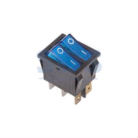 Выключатель клавишный 250V 15А (6с) ON-OFF синий с подсветкой ДВОЙНОЙ REXANT