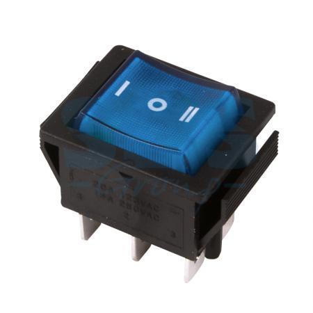 Выключатель клавишный 250V 15А (6с) ON-OFF-ON синий с подсветкой и нейтралью REXANT carprie new replacement atx motherboard switch on off reset power cable for pc computer 17aug23 dropshipping