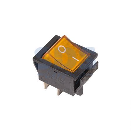 Выключатель клавишный 250V 16А (4с) ON-OFF желтый с подсветкой REXANT