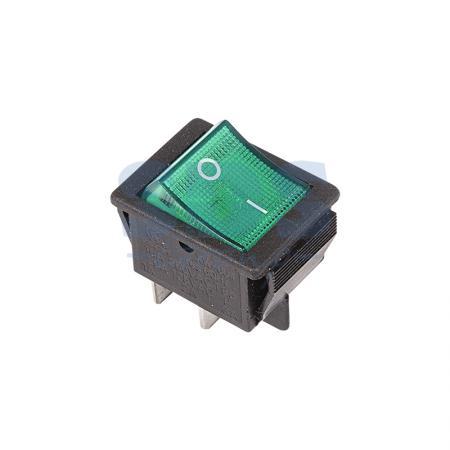 Выключатель клавишный 250V 16А (4с) ON-OFF зеленый с подсветкой REXANT