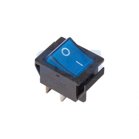 Выключатель клавишный 250V 16А (4с) ON-OFF синий с подсветкой REXANT