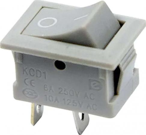 Выключатель клавишный 250V 6А (2с) ON-OFF серый Mini REXANT 10шт