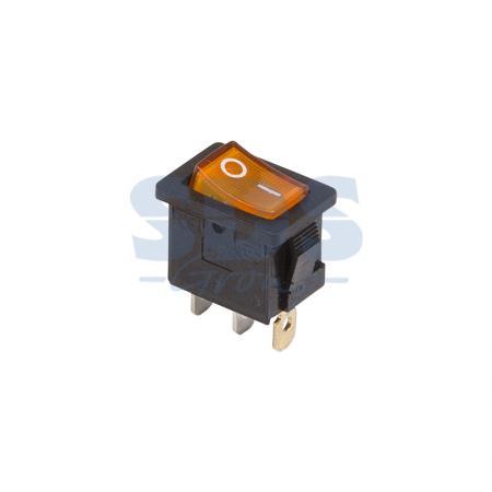 Выключатель клавишный 250V 6А (3с) ON-OFF желтый с подсветкой Mini REXANT