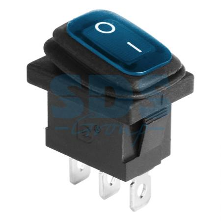 Выключатель клавишный 250V 6А (3с) ON-OFF синий с подсветкой Mini ВЛАГОЗАЩИТА REXANT