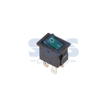 Выключатель клавишный 250V 6А (4с) ON-OFF зеленый с подсветкой Mini REXANT