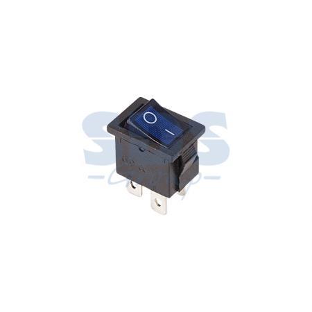 Выключатель клавишный 250V 6А (4с) ON-OFF синий с подсветкой Mini REXANT