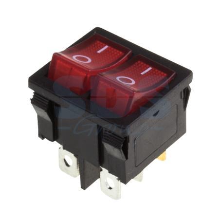 Выключатель клавишный 250V 6А (6с) ON-OFF красный с подсветкой ДВОЙНОЙ Mini REXANT 10шт