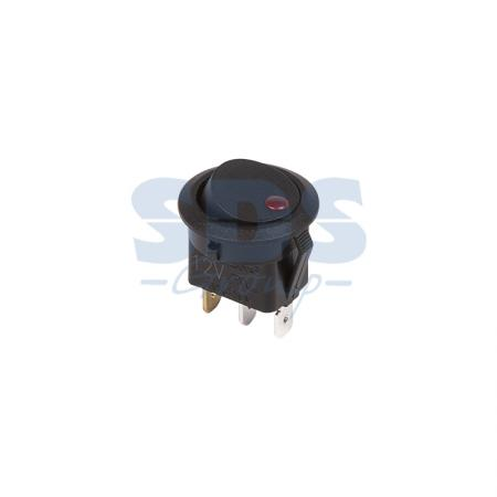 Выключатель клавишный круглый 12V 16А (3с) ON-OFF черный с красной подсветкой REXANT