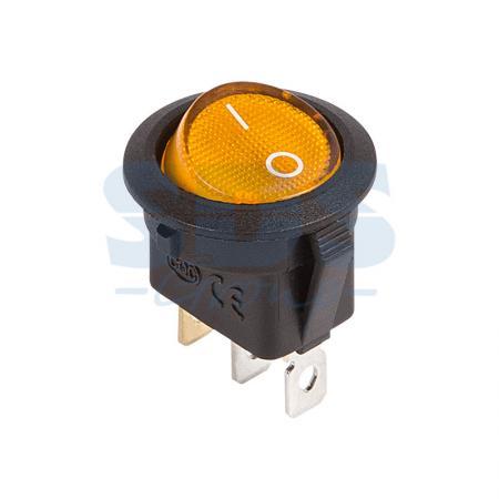 Выключатель клавишный круглый 12V 20А (3с) ON-OFF желтый с подсветкой REXANT выключатель клавишный 12v 20а 3с on off черный овал с синей led подсветкой rexant