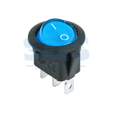 Выключатель клавишный круглый 12V 20А (3с) ON-OFF синий с подсветкой REXANT выключатель клавишный 12v 20а 3с on off черный овал с синей led подсветкой rexant
