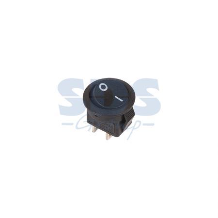 Выключатель клавишный круглый 250V 3А (2с) ON-OFF черный Micro REXANT 10шт