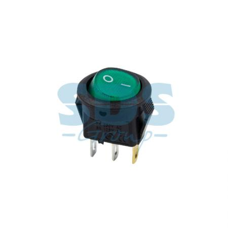 Выключатель клавишный круглый 250V 3А (3с) ON-OFF зеленый с подсветкой Micro REXANT