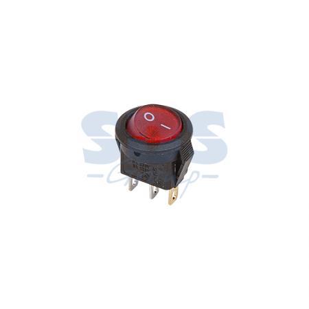 Выключатель клавишный круглый 250V 3А (3с) ON-OFF красный с подсветкой Micro REXANT