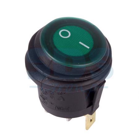 Выключатель клавишный круглый 250V 6А (3c) ON-OFF зеленый с подсветкой ВЛАГОЗАЩИТА REXANT