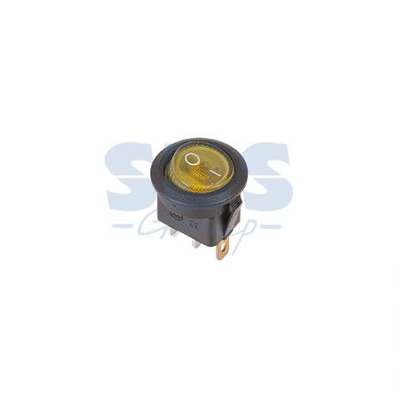 Выключатель клавишный круглый 250V 6А (3с) ON-OFF желтый с подсветкой REXANT