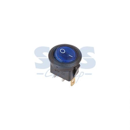 Выключатель клавишный круглый 250V 6А (3с) ON-OFF синий с подсветкой REXANT