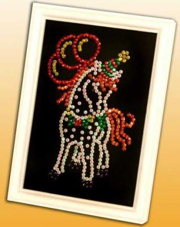 Мозаика из пайеток Лошадка волшебная мастерская мозаика из пайеток метрика для мальчика