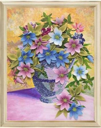 Мозаика из пайеток на холсте Клематисы волшебная мастерская мозаика из пайеток улитка