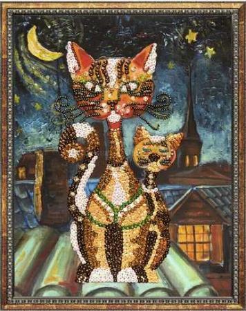 цены на Мозаика из пайеток на холсте Кошки  в интернет-магазинах