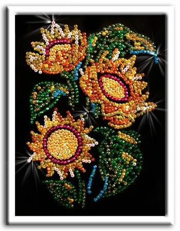 Мозаика из пайеток Подсолнухи волшебная мастерская мозаика из пайеток улитка