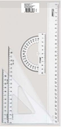 Набор большой, б/цв прозрачный - линейка 30 см, 2 треугольника бол., транспортир