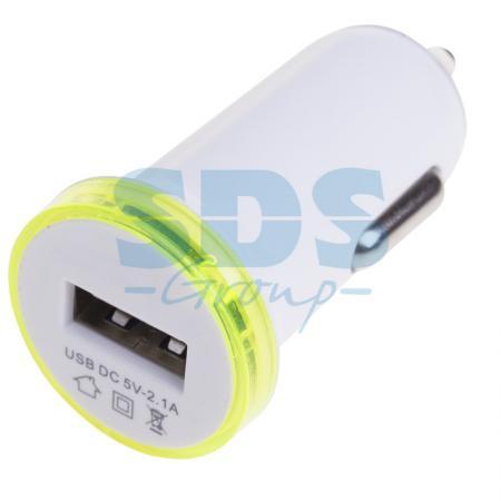 Автозарядка в USB (АЗУ) (5V, 2100mA) белая REXANT