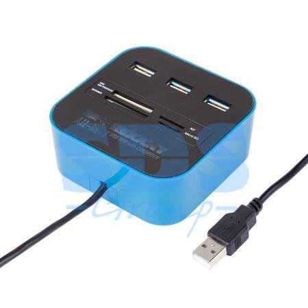 Разветвитель USB на 3 порта + картридер (Все в одном) черный REXANT 18-4121 концентратор картридер usb 2 0 smartbuy sbrh 750 k на 3 порта черный