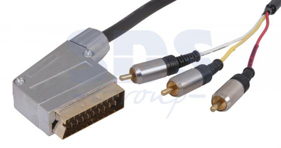 Шнур SCART Plug - 3RCA Plug с переключателем 1.5М (GOLD) металл REXANT gold plated banana plug jack connector set golden 3 5mm 10 pairs