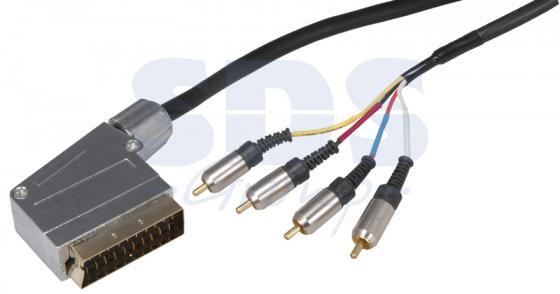 Шнур SCART Plug - 4RCA Plug 1.5М (GOLD) металл REXANT gold plated banana plug jack connector set golden 3 5mm 10 pairs