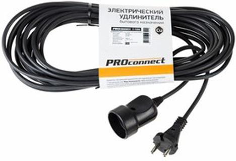 Купить Удлинитель шнур 10м (1 роз.) 2х0.75 мм? черный STANDART PROCONNECT
