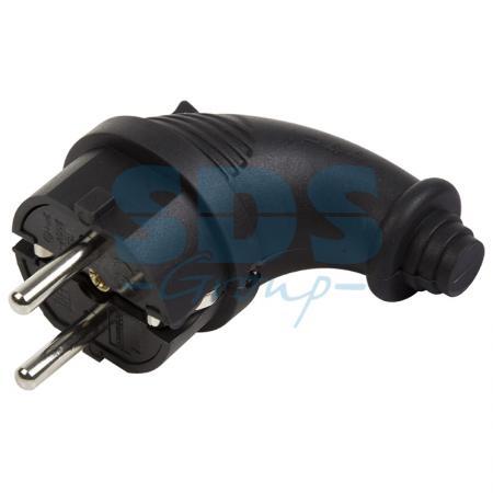 Вилка угловая влагозащищенная, с/з, 16А, IP44 черная, каучук PROCONNECT угловая плоская вилка за шкаф с з 16а черная flat plug electraline 55045