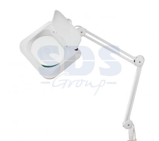Лупа на струбцине квадратная 5D с подсветкой с крышкой, белая REXANT цена и фото