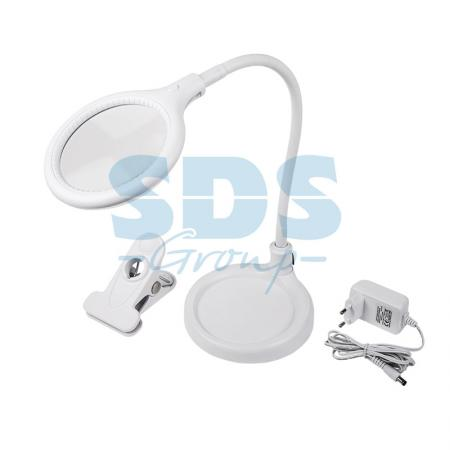 Лупа настольная 3D с подсветкой 30LED (подставка+прищепка), белая REXANT цена и фото